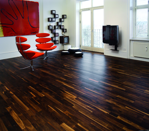Junckers Solid Black Oak 2-Strip Flooring, Ultra Matt Lacquered, Variation 129x14 mm Image 2