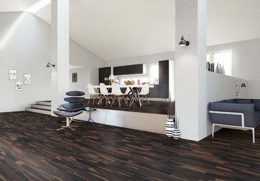 Junckers Solid Black Oak 2-Strip Flooring, Ultra Matt Lacquered, Variation, 129x22 mm Image 2