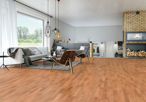 Junckers Beech SylvaRed Solid 2-Strip Wood Flooring, Ultra Matt Lacquered, Halmony, 129x22 mm Image 2