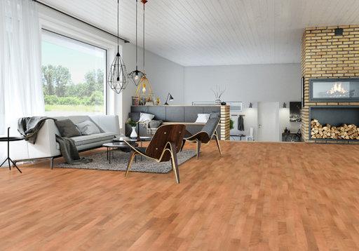 Junckers Beech SylvaRed Solid 2-Strip Wood Flooring, Silk Matt Lacquered, Classic, 129x14 mm Image 1