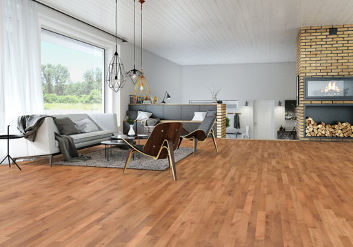 Junckers Beech SylvaRed Solid 2-Strip Wood Flooring, Silk Matt Lacquered, Harmony, 129x14 mm Image 1