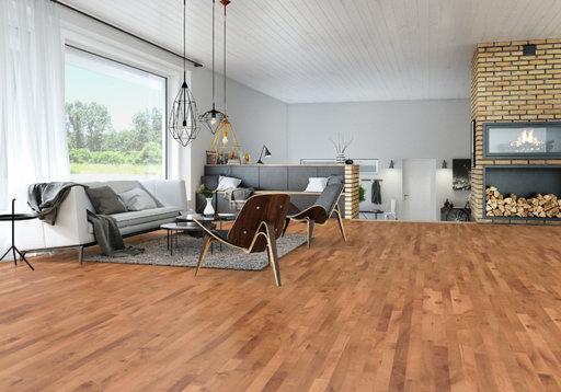 Junckers Beech SylvaRed Solid 2-Strip Wood Flooring, Silk Matt Lacquered, Variation, 129x14 mm Image 3