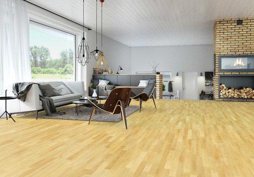 Junckers Beech Solid 2-Strip Wood Flooring, Silk Matt Lacquered, Classic, 129x14 mm Image 1