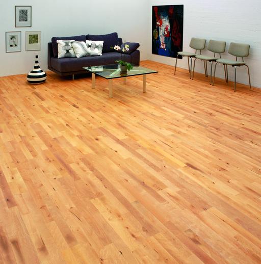 Junckers Beech Solid 2-Strip Wood Flooring, Silk Matt Lacquered, Variation, 129x14 mm Image 2