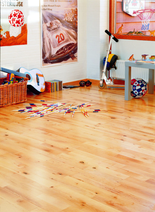 Junckers Beech Solid 2-Strip Wood Flooring, Silk Matt Lacquered, Variation, 129x22 mm Image 1