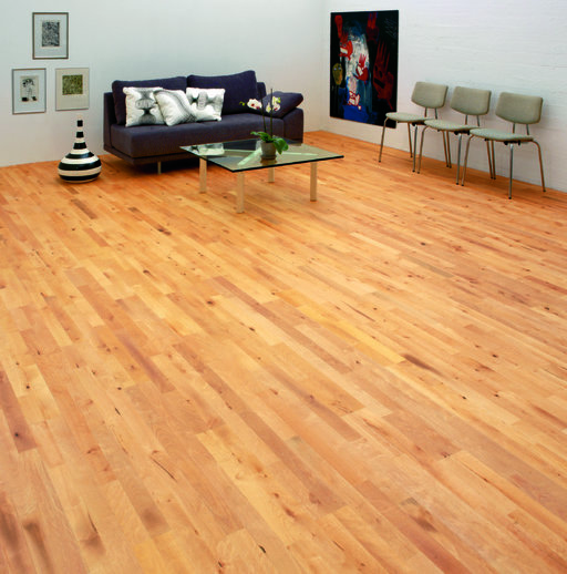 Junckers Beech Solid 2-Strip Wood Flooring, Silk Matt Lacquered, Variation, 129x22 mm Image 2