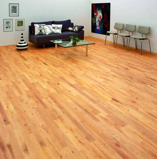 Junckers Beech Solid 2-Strip Wood Flooring, Ultra Matt Lacquered, Variation, 129x14 mm Image 2