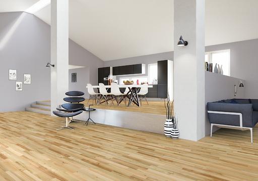 Junckers Light Ash Solid 2-Strip Wood Flooring, Silk Matt Lacquered, Harmony, 129x14 mm Image 2