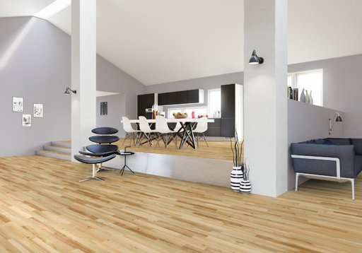Junckers Light Ash Solid 2-Strip Wood Flooring, Silk Matt Lacquered, Harmony, 129x22 mm Image 1