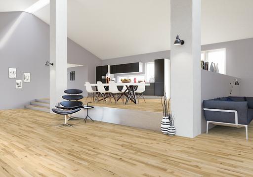 Junckers Light Ash Solid 2-Strip Wood Flooring, Ultra Matt Lacquered, Variation, 129x22 mm Image 2