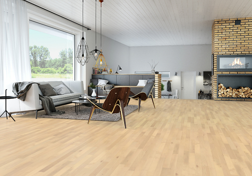 Junckers Nordic Beech Solid 2-Strip Wood Flooring, Ultra Matt Lacquered, Classic, 129x22 mm Image 2