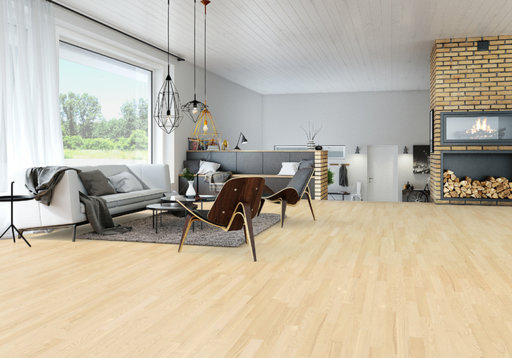 Junckers Nordic Light Ash 2-Strip Solid Wood Flooring, Ultra Matt Lacquered, Classic, 129x14 mm Image 2