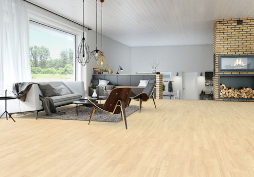 Junckers Nordic Light Ash 2-Strip Solid Wood Flooring, Ultra Matt Lacquered, Harmony, 129x14 mm Image 3