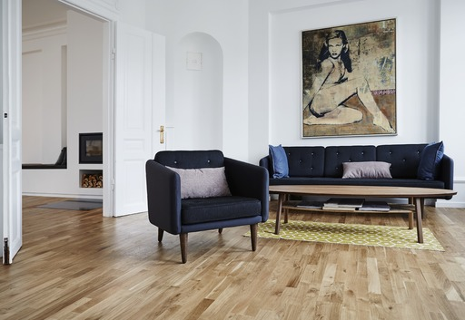 Junckers Solid Oak 2-Strip Flooring, Ultra Matt Lacquered, Harmony, 129x14 mm Image 2