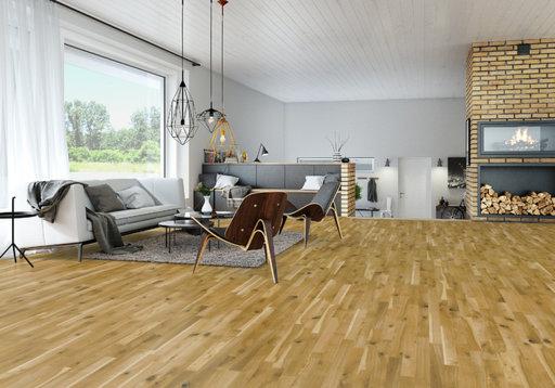 Junckers Solid Oak 2-Strip Flooring, Silk Matt Lacquered, Variation, 129x14 mm Image 2