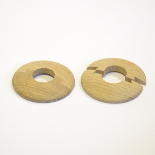 Solid Oak Pipe Surrounds (Pipe Ferrule) Unfinished, 15 mm, Pair Image 1