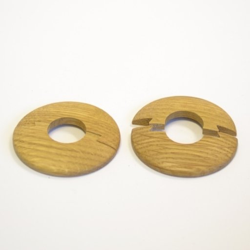 Solid Oak Pipe Surrounds (Pipe Ferrule) Lacquered, 15 mm, Pair Image 1