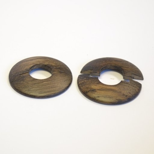 Solid Dark Oak Pipe Surrounds (Pipe Ferrule) Lacquered, 16 mm, Pair Image 1