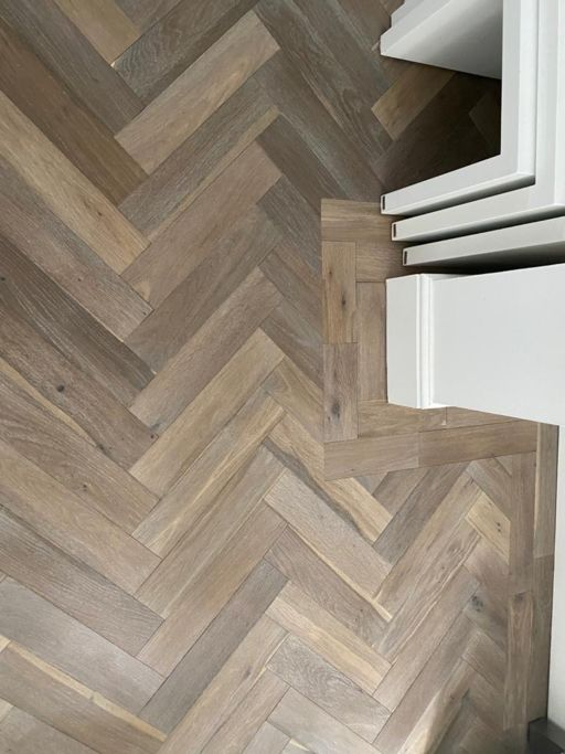 Evolve Smoked Grey American Engineered Oak Flooring, Herringbone, Natural, Brushed & Oiled , 90x15x400 mm