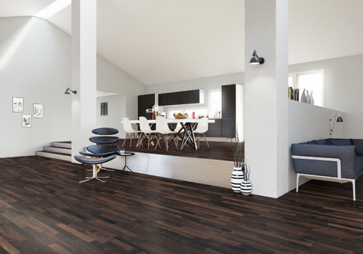 Junckers Solid Black Oak 2-Strip Flooring, Ultra Matt Lacquered, Harmony, 129x22 mm