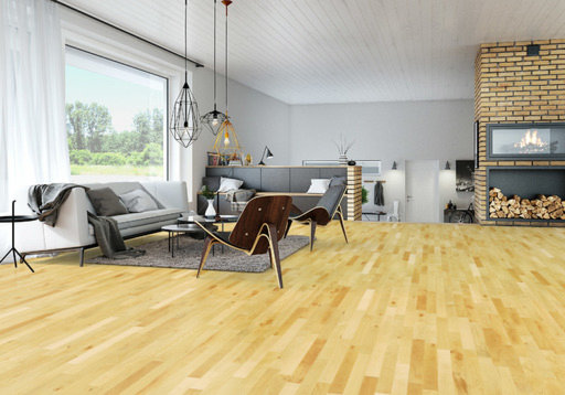 Junckers Beech Solid 2-Strip Wood Flooring, Ultra Matt Lacquered, Harmony, 129x14 mm