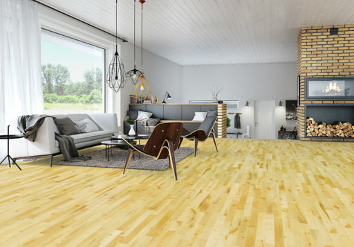 Junckers Beech Solid 2-Strip Wood Flooring, Silk Matt Lacquered, Variation, 129x14 mm