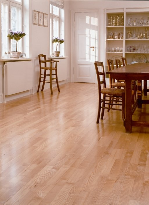 Junckers Light Ash Solid 2-Strip Wood Flooring, Silk Matt Lacquered, Classic, 129x14 mm