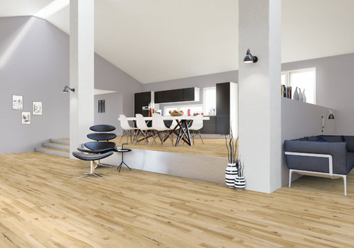 Junckers Light Ash Solid 2-Strip Wood Flooring, Ultra Matt Lacquered, Variation, 129x14 mm