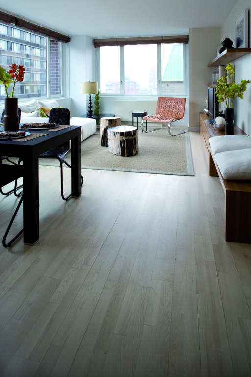 Junckers Nordic Light Ash 2-Strip Solid Wood Flooring, Ultra Matt Lacquered, Variation, 129x22 mm