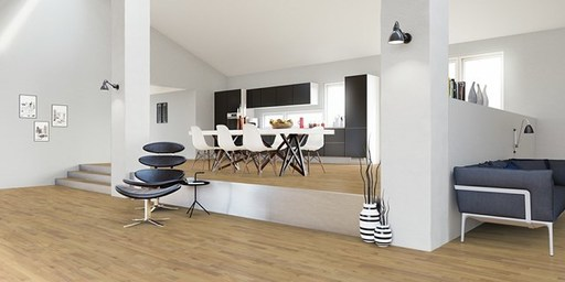 Junckers Solid Nordic Oak 2-Strip Flooring, Ultra Matt Lacquered, Harmony, 129x14 mm