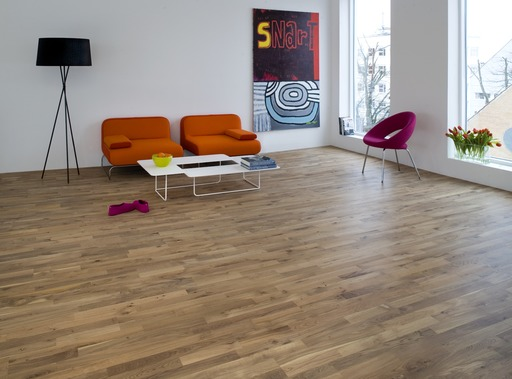 Junckers Solid Nordic Oak 2-Strip Flooring, Ultra Matt Lacquered, Variation, 129x22 mm