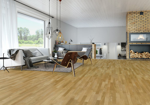 Junckers Solid Oak 2-Strip Flooring, Ultra Matt Lacquered, Classic, 129x14 mm
