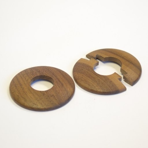 Solid Oak Pipe Surrounds (Pipe Ferrule) Walnut Stained, Lacquered, 16 mm, Pair