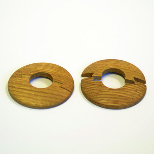 Solid Smoked Oak Pipe Surrounds (Pipe Ferrule) Lacquered, 15 mm, Pair