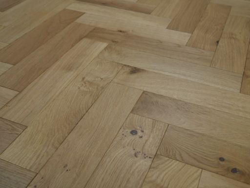 Tradition Engineered Oak Parquet Flooring, Herringbone, Brushed & UV Oiled, 90x14x450 mm