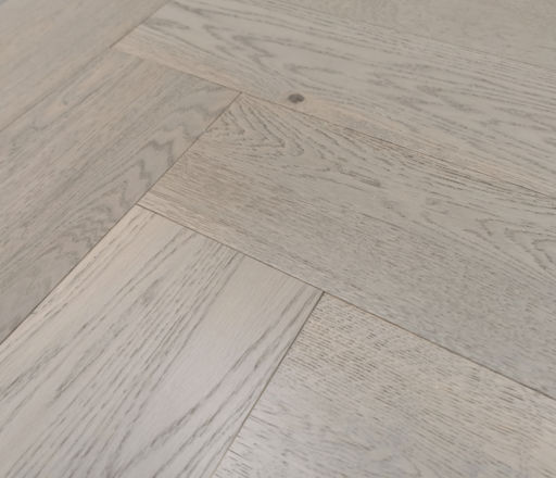 Tradition Engineered Oak Parquet Flooring, Herringbone, Grey, Brushed, UV Lacquered, 150x14x600 mm