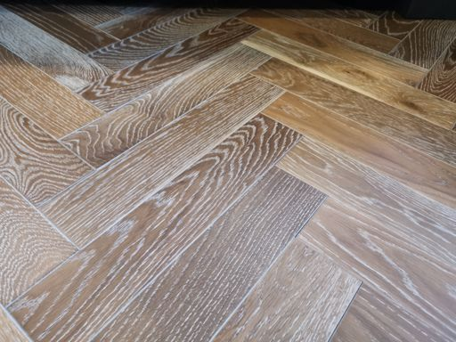 Tradition Engineered Oak Parquet Flooring, Herringbone, Smoked White, UV Oiled, 90x14x450 mm