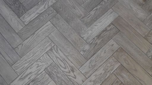 Tradition Herringbone Engineered Oak Parquet Flooring, Gunmetal, Grey, 80x18x300 mm