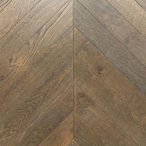 Xylo Dark Mocha Stained Engineered Oak Flooring, Rustic, Chevron, Brushed & UV Oiled, 90x14x540 mm