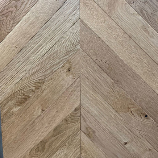 Xylo Natural Engineered Oak Flooring, Rustic, Chevron, Brushed & UV Oiled, 90x14x540 mm