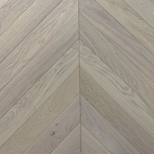 Xylo Pearl White Stained Engineered Oak Flooring, Rustic, Chevron, Brushed & UV Oiled, 90x14x540 mm