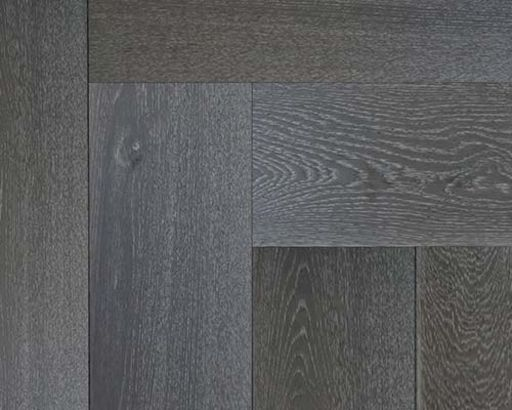 Xylo Silver Grey Stained Engineered Oak Flooring, Rustic, Herringbone, UV Oiled, 15x4x140 mm