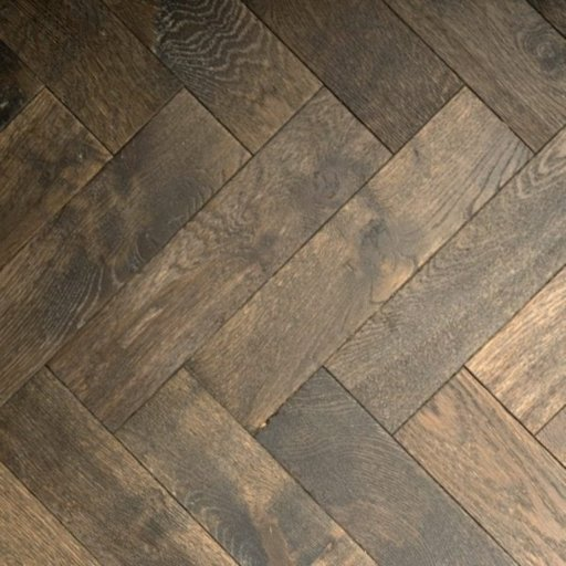 V4 Foundry Steel Engineered Oak Parquet Flooring, Rustic, Distressed, Stained, Handfinished & UV Oiled, 90x15x360 mm
